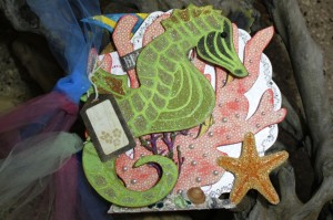 Sea Horse with Graphic45 Travelogue and Art Glitter