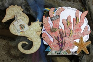 Coral with Graphic45 Travelogue and Art Glitter