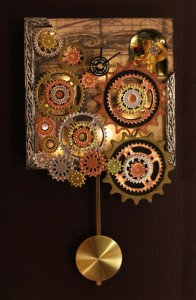 Steampunk Clock at Night