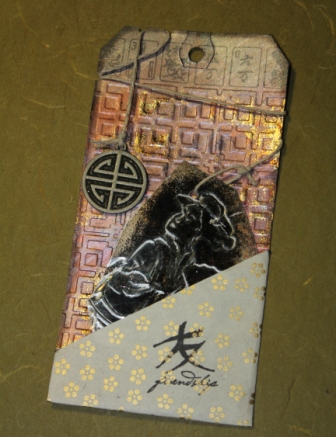 Geisha Mica Tile Bookmark Gift Tag