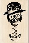 Steampunk Skull Wood Mounted Stamp