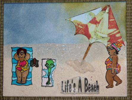 Lifes A Beach card with sand from Cancun