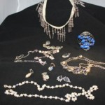 Old jewelry, including eye glass chains, were a great source for bling.