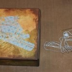 """Step 6 - The """"leading"""" peeled away from the silhouette in preparation for heat embossing"""