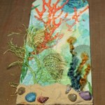 Mermaid Tag with Artist's Cement - sand and shells