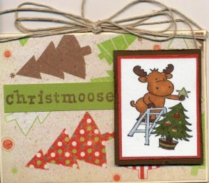 Christmas card made with Riley the Moose stamp