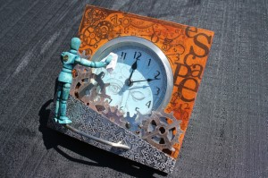 Finished steampunk clock (side view)