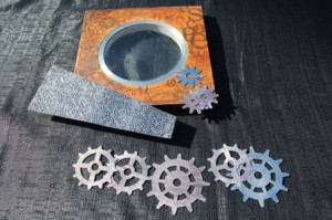The clock face and gear parts, ready for final embellishments and assembly