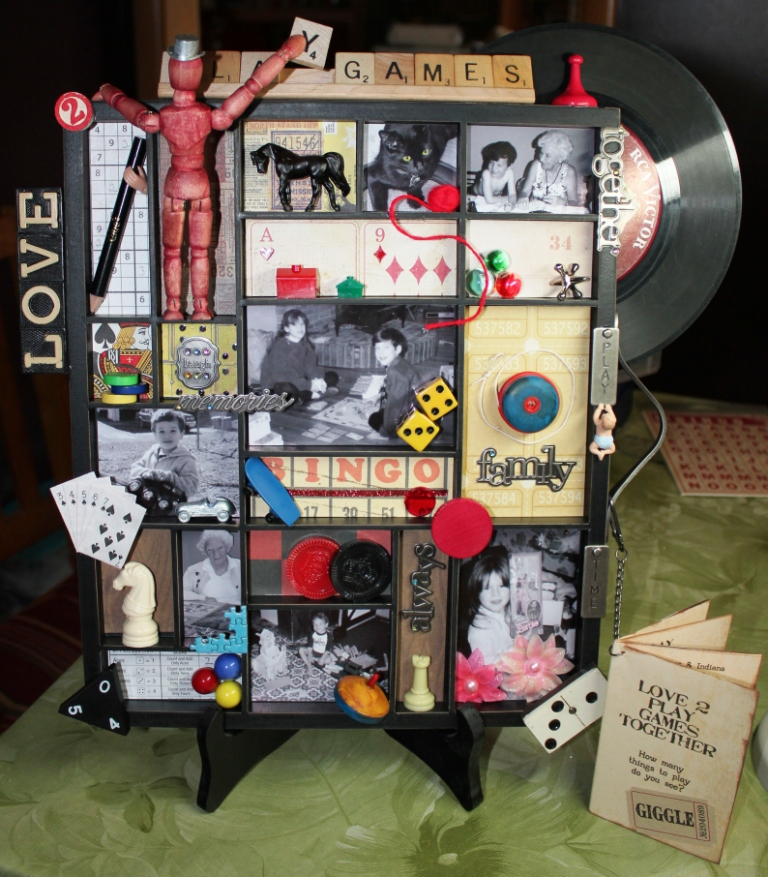 Finish Letterblock Tray with photos and found items