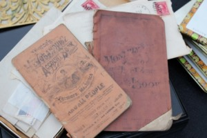 Ephemera, including an account book, a monthly journal, letters, postcards, ...