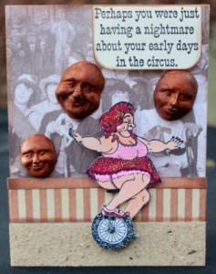 Circus Card using Viva Las Vegastamps! and Creative Paperclay