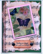 Butterfly and Music Napkin Collage Card