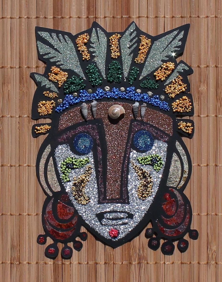 Mask on Bamboo Mat