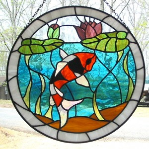 Koi Stained Glass Window by Anna Varney