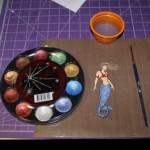 Mermaid Stamp with Mica Watercolors