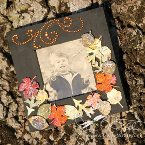 Small Frame with Gilded Fall Leaves and Rhinestones
