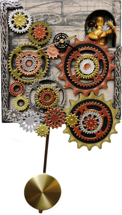 Steampunk Clock with Clock Keeper in Daylight