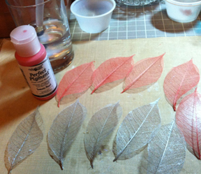 Painted leaves drying on my work table