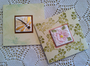 Finished cards using paper casting from Arnold Grummer's paper casting molds