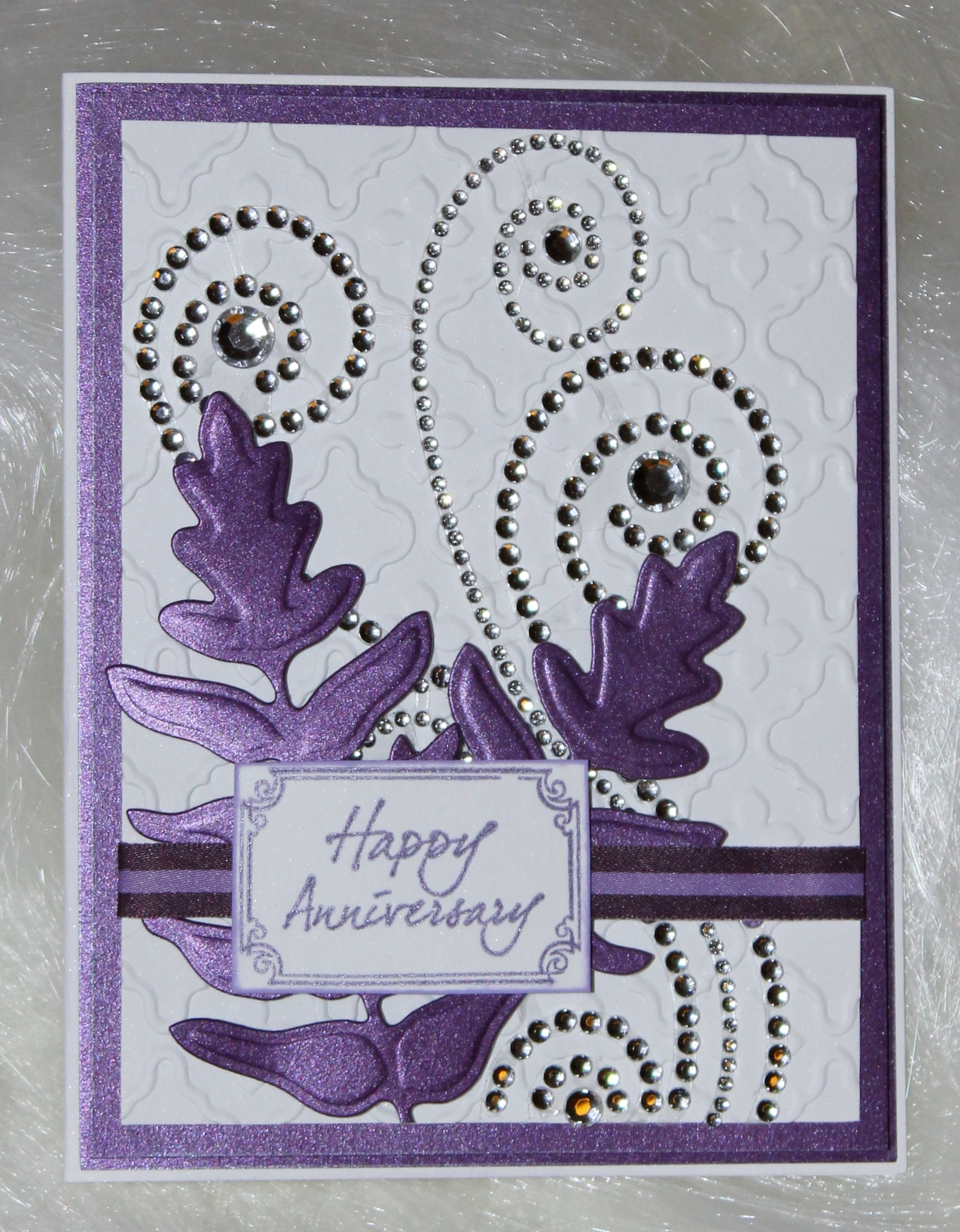 Embossed Anniversary Card with Rhinestone Swirls