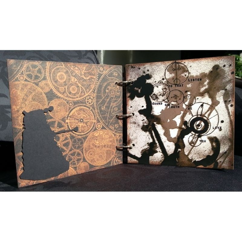 Whovian Inspired Mini Chipboard Album Kit - Page 1 Back and Page 2