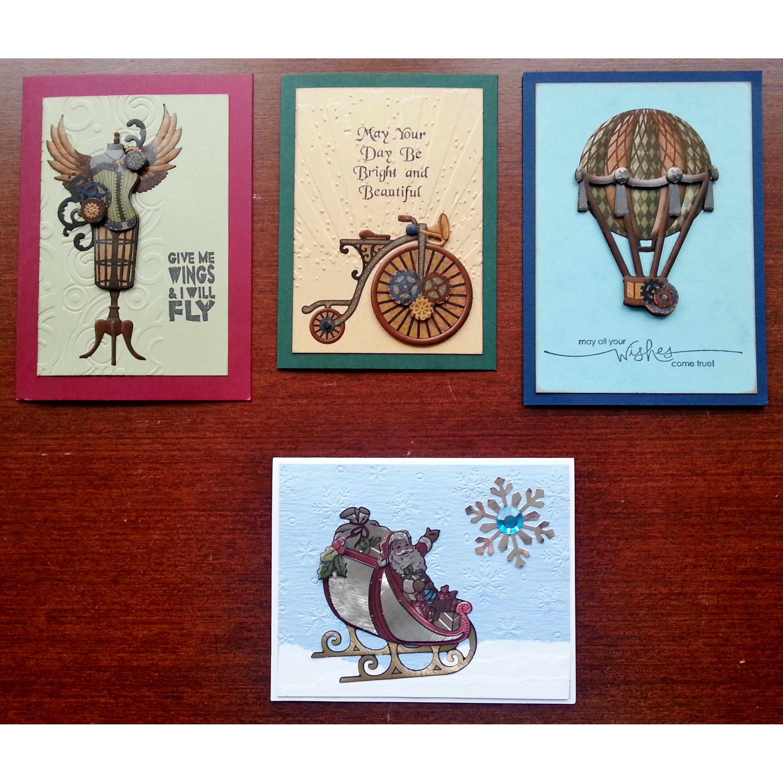 Paper Tole Card Kit 3 Steampunk 1 Metallic Christmas Createncraft