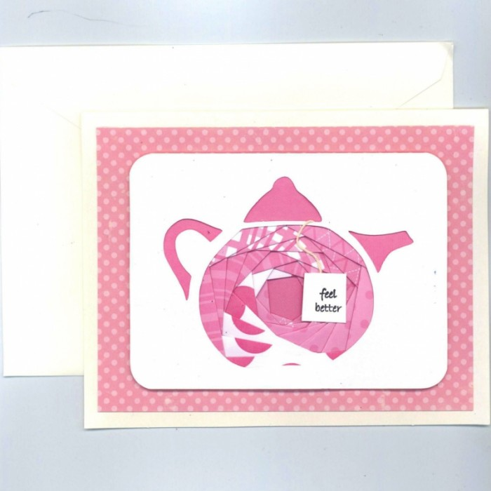 Pink Teapot Iris Folding Card Kit