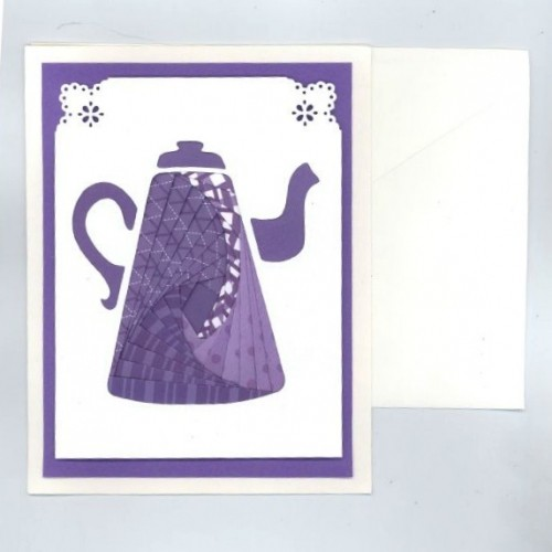 Purple Coffeepot Iris Folding Card