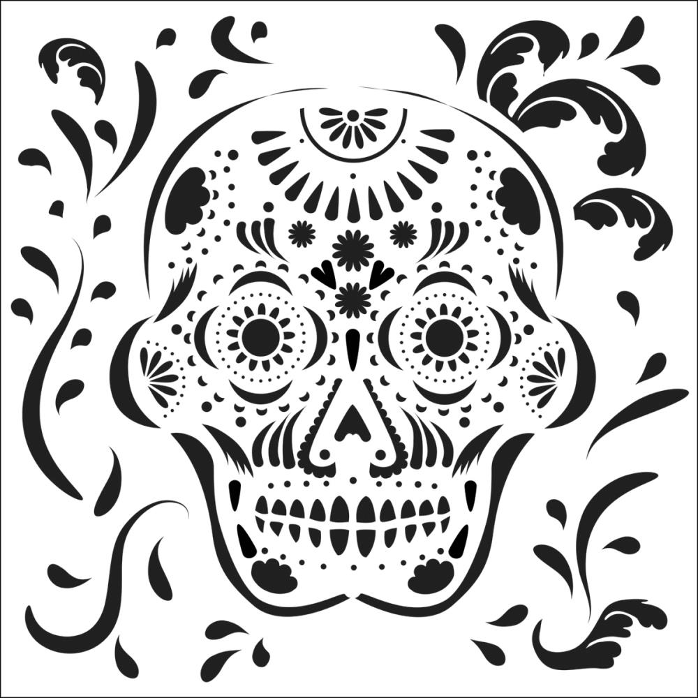 Mexican Skull (Day of the Dead) - Jaime Echt Stencil by TCW