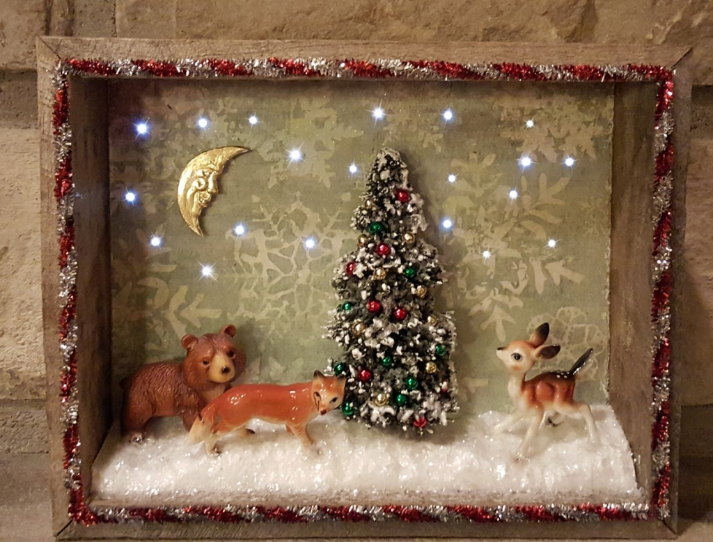 Vintage Christmas Shadowbox with Lights