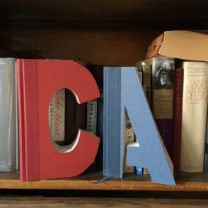 Initials cut from books