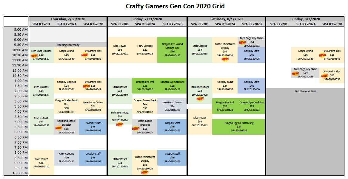 Crafty Gamers Gen Con 2020 Grid